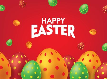 Red Happy Easter Card with Colorful Eggs. Falling Easter Eggs background Vector illustration.