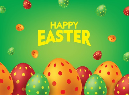 Green Happy Easter Card with Colorful Eggs. Falling Easter Eggs background Vector illustration. Illustration