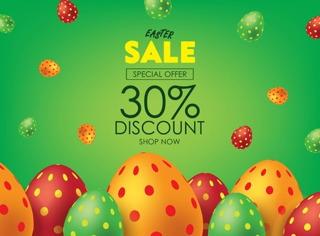 Green Easter Sale Poster or Flyer with Colorful Eggs. Advertising Campaign in Retail, Sale Promo Marketing, Ad Offer on Shopping. Falling Easter Eggs background Vector illustration. Illustration