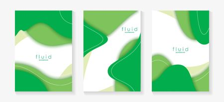 Green Fluid 3D Papercut Cover Set. Dynamic Background for invitation, booklet or business card design. Modern Vector paper background Ilustração