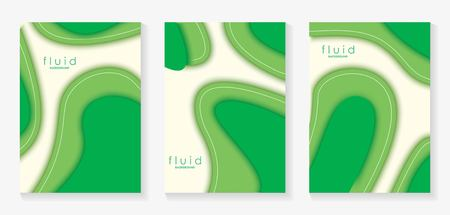 Green Fluid 3D Papercut Cover Set. Dynamic Background for invitation, booklet or business card design. Modern Vector paper background Illustration