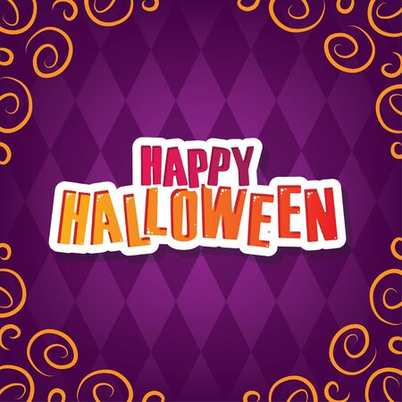 Happy Halloween Greeting. Purple Halloween Party Element for Background, Decoration, Celebration, Card, and Various Use. Vector Illustration.