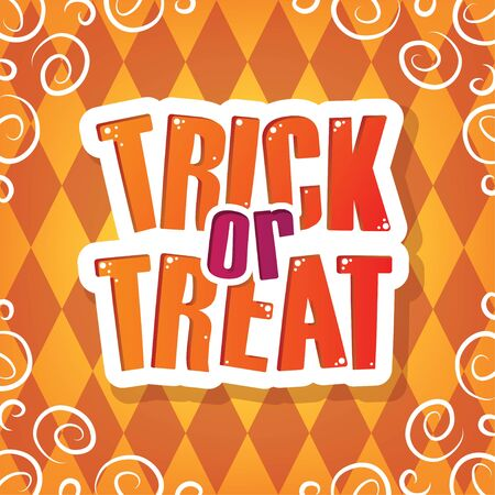 Trick or Treat Greeting. Orange Halloween Party Element for Background, Decoration, Celebration, Card, and Various Use. Vector Illustration.  イラスト・ベクター素材