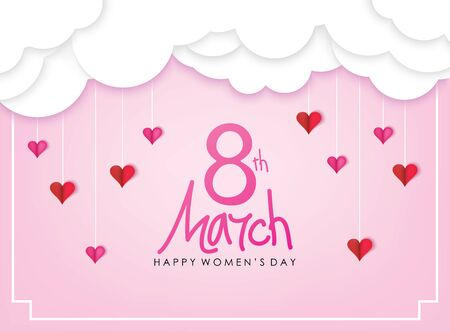 March 8 Happy Women`s Day Celebration. Papercut Style Pink Background with White Clouds and Hearts Vector Illustration. Ilustrace