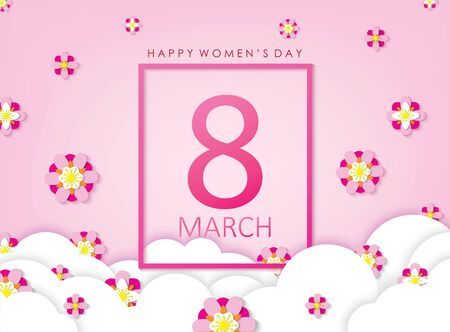 March 8 Happy Women's Day Celebration. Papercut Style Pink Background with White Clouds and Flowers Vector Illustration. Ilustrace