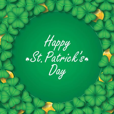 Saint Patrick's Day card or banner with clover leaves and golden coins. Square Irish holiday label with place for text. Vector illustration Ilustrace