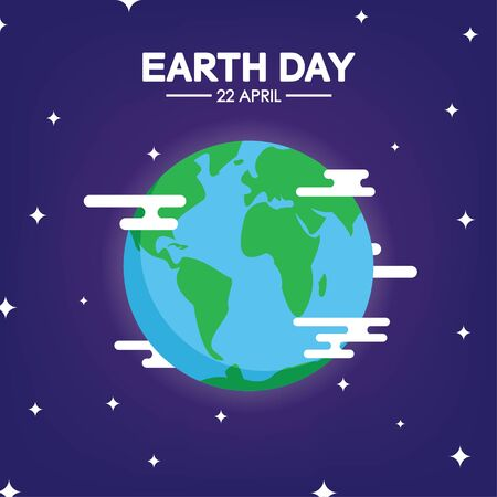 Happy Earth day poster. Vector illustration. Use for card, poster, banner, web design and print on t-shirt. Easy to edit. Vector illustration.