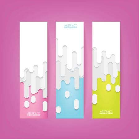3D Papercut Liquid Drop Banner Set. Colorful Background Vector Illustration. Place Your Text Here