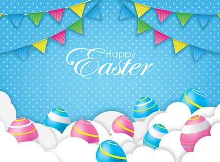 Happy Easter Card with 3D Colorful Eggs and Papercraft Cloud. Spring Event Vector Illustration. Place Your Text Here