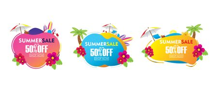 Summer Sale Colorful Abstract Liquid Banner Collections Vector Design. Seasonal Special Offer Template Banner Set