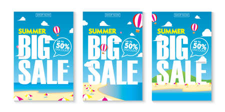 Summer Big Sale with Beach Background Poster Collections Vector Design. Seasonal Special Offer Template Banner Set Ilustrace