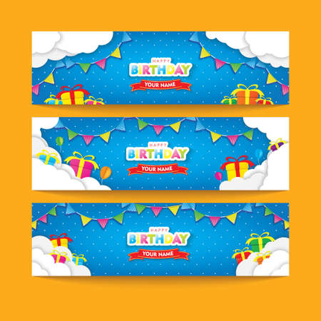 Editable Blue Happy Birthday Banner Set with Clouds, Flags, and Gifts Papercut Vector Design Ilustrace