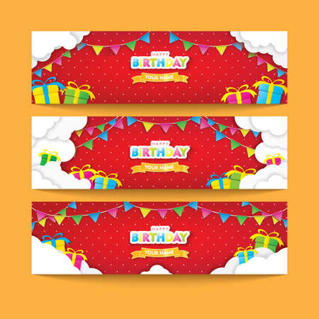 Editable Red Happy Birthday Banner Set with Clouds, Flags, and Gifts Papercut Vector Design