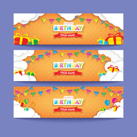 Editable Orange Happy Birthday Banner Set with Clouds, Flags, and Gifts Papercut Vector Design