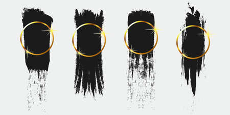 Black Brush Stroke with Gold Circle Background Set for Logo, Text, and Image. Flat Abstract Vector Background. Design Element.