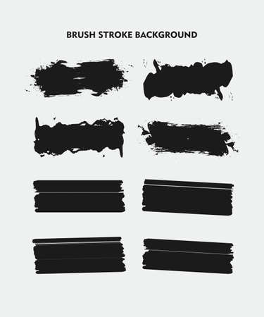Black Brush Stroke Background Set for Logo, Text, and Image. Flat Abstract Vector Background. Design Element.