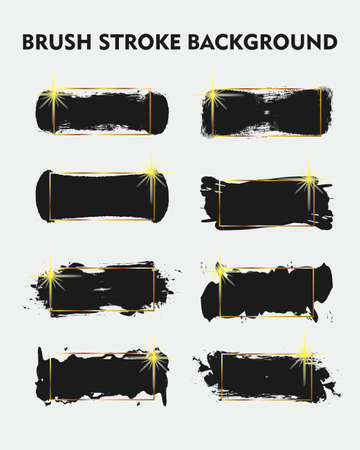 Black Brush Stroke with Gold Rectangle Background Set for Logo, Text, and Image. Flat Abstract Vector Background. Design Element.