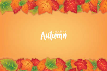 Happy Autumn Background with Orange and Green Leafs Vector Design Ilustrace