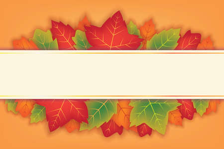 Autumn Background with Orange and Green Leafs Vector Design