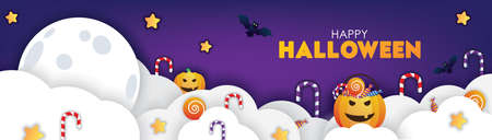 Colorful Happy Halloween Banner Clouds and Pumpkins Illustrations. Papercut Style.