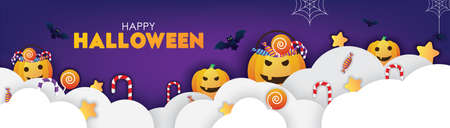 Colorful Happy Halloween Banner Clouds and Pumpkins Illustrations. Papercut Style Vector. Ilustrace