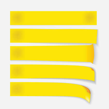 yellow sticky notes sets vector illustration