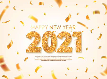 Gold 2021 Happy New Year Greeting with Scattered Gold Conffetis. Vector Illustration. Design element for flyers, leaflets, postcards and posters.