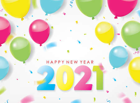 Colorful 2021 Happy New Year Greeting with Balloons and Scattered Conffetis. Vector Illustration. Design element for flyers, leaflets, postcards and posters. Ilustrace