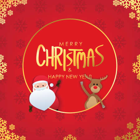 Merry Christmas greetings with santa claus and red nose reindeer on red