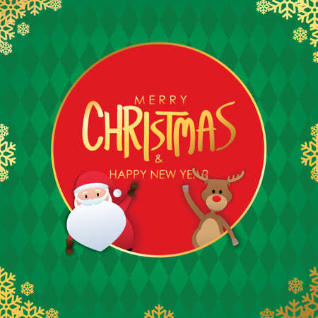 Merry Christmas greetings with santa claus and red nose reindeer on green