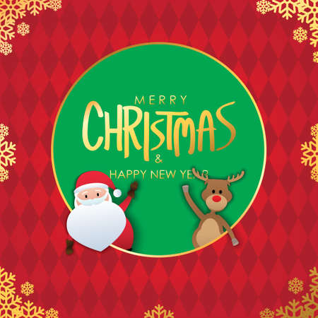 Merry Christmas & Happy New Year Greeting. Santa Claus and Red Nose Reindeer on Red and Green  Background Vectors design. Poster, card, decoration