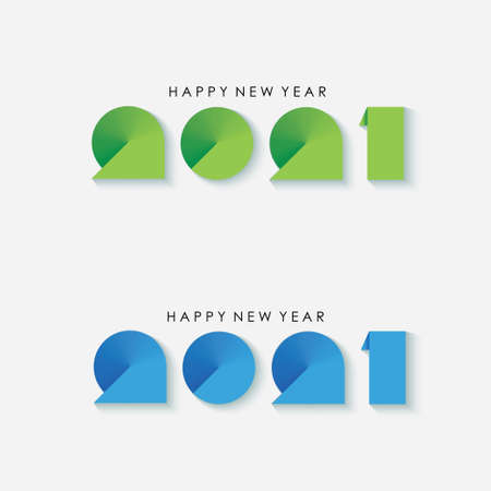 Gradient Happy New Year 2021 Greeting. Vector Illustration. Design element for flyers, leaflets, postcards and posters.