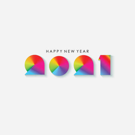 Colorful Happy New Year 2021 Greeting. Vector Illustration. Design element for flyers, leaflets, postcards and posters. Ilustrace