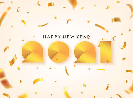 Gold Happy New Year 2021 Greeting. Vector Illustration. Design element for flyers, leaflets, postcards and posters.