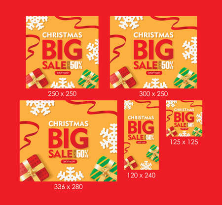 Christmas Big Sale Web Banners Orange Background with Gift box, Snowflakes, and Ribbons Set