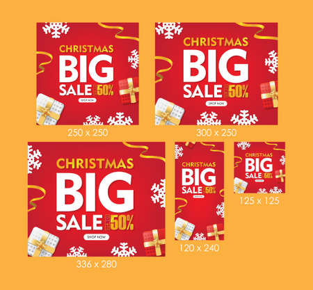 Christmas Big Sale Web Banners Red Background with Gift box, Snowflakes, and Ribbons Set Ilustrace