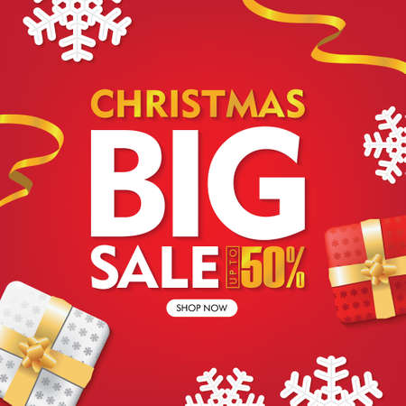 Christmas Big Sale Banners Red Background with Gift box and Ribbons Set Ilustrace