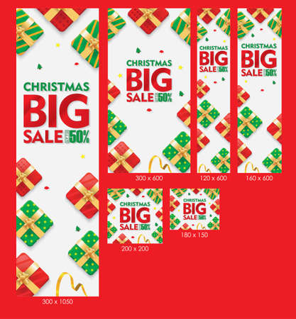 Christmas Big Sale Web Banners White Background with Gift box and Ribbons Set