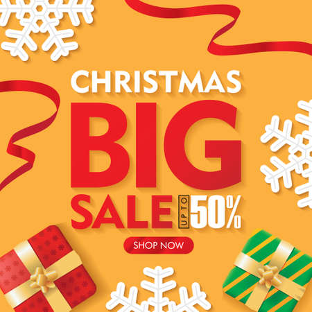 Christmas Big Sale Banners Orange Background with Gift box and Ribbons Set