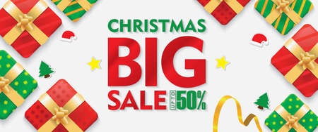 Christmas Big Sale Banners White Background with Gift box and Ribbons Set