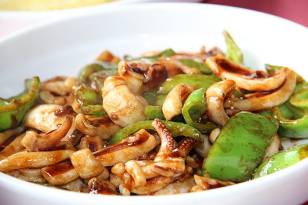 asian cuisine: asian cuisine - fried Squid with green peppers