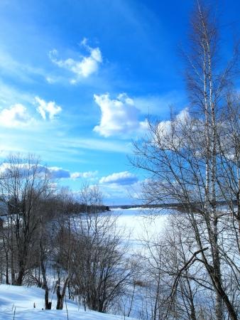 frozen river: frozen river,  beautiful sky Stock Photo