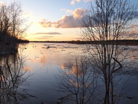 river,  spring evening