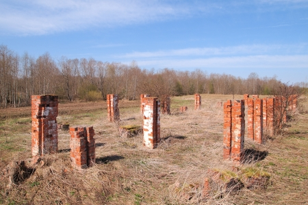 brick columns, the remains of an old building
