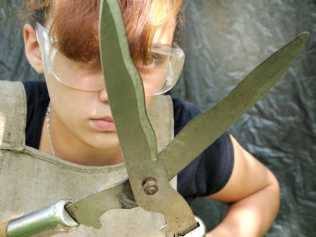 girl with pruning shears