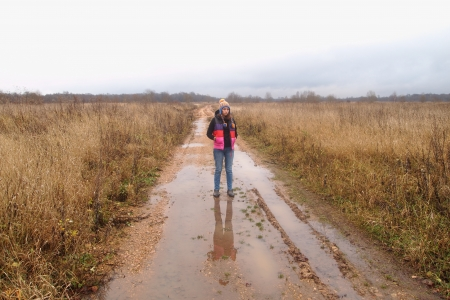 girl on rural road