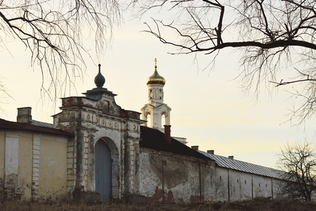 wall of the St. George Monastery, the city of Veliky Novgorod