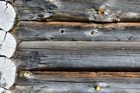 corner of a log house, old building, background Standard-Bild