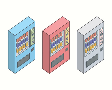 자동 판매기, 자동 판매기 벡터 집합입니다. 일러스트