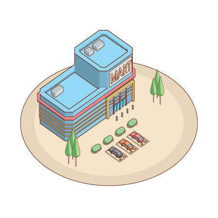 supermarket shopper: isometric shopping mart Illustration
